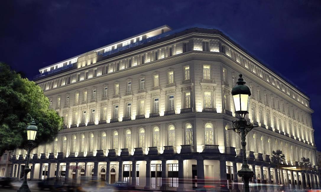 A projeção mostra como deverá ficar a fachada, preservada, à noite. O hotel ocupará o prédio La Manzana de Gómez, primeiro centro comercial de Cuba. Foto: Kempinki Hotels / Divulgação