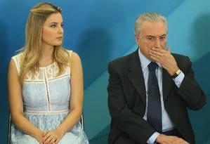 O presidente Michel Temer e a primeira dama, Marcela Foto: André Coelho / Agência O Globo / 4-10-2016