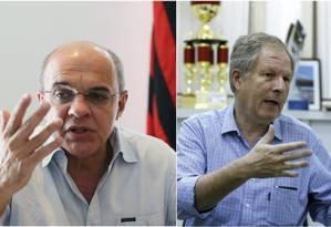 Os presidentes do Flamengo, Eduardo Bandeira de Mello, e do Botafogo, Carlos Eduardo Pereira Foto: Guilherme Pinto e Domingos Peixoto / Agência O Globo