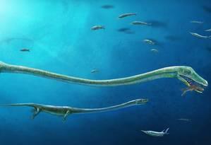 Ilustração mostra o Dinocephalosaurus, que habitou os mares do Sul da China há 250 milhões de anos Foto: Dinghua Yang