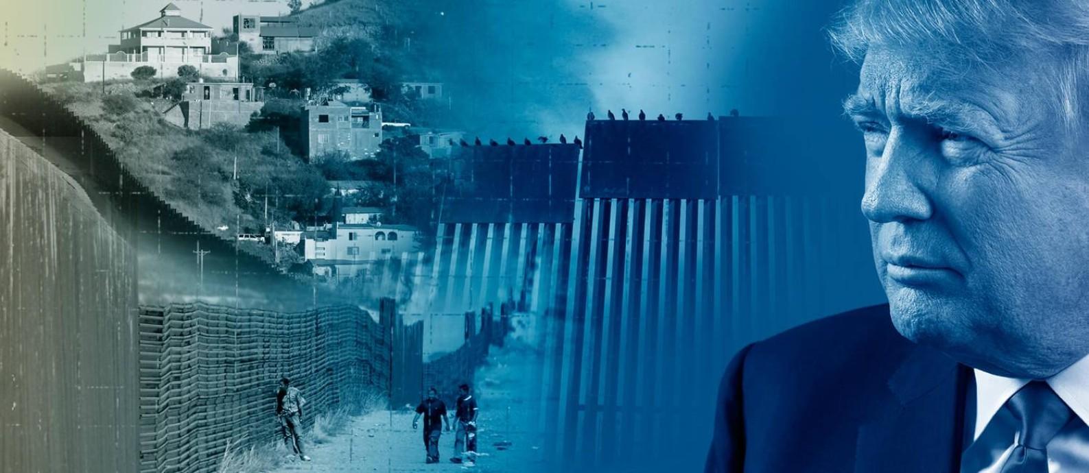 Fronteira entre o México e os Estados Unidos, em fotomontagem. Foto: Arte / O Globo