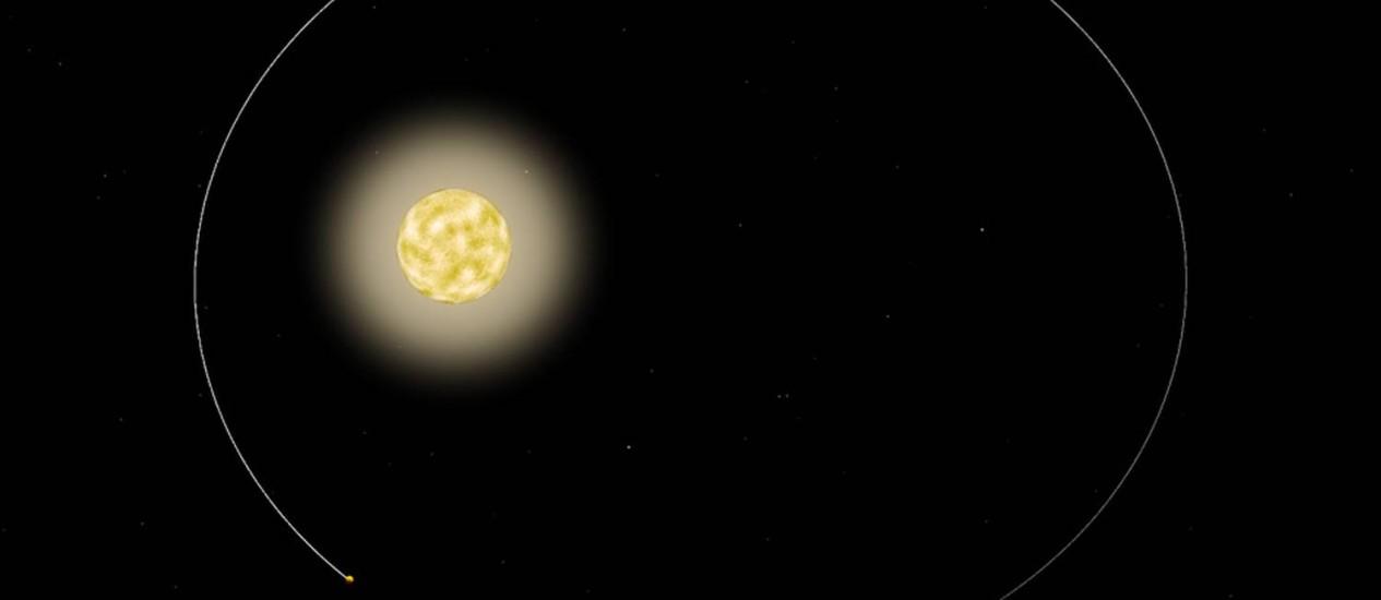 Ilustração mostra a órbita do planeta gigante em torno da estrela Foto: Divulgação/MIT/Nasa
