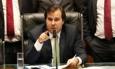 O presidente da Câmara dos Deputados, Rodrigo Maia (DEM-RJ), durante sessão da Casa Foto: Ailton de Freitas / Agência O Globo/15-02-2017