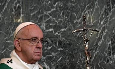 Papa Francisco durante celebração missa neste 19 de fevereiro Foto: TIZIANA FABI / AFP