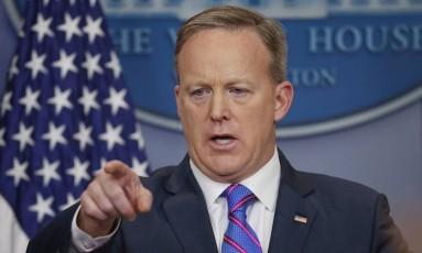 Sean Spicer. Coletivas do secretário de Imprensa da Casa Branca elevam audiência televisiva Foto: Pablo Martinez Monsivais / AP