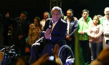 Lenín Moreno faz comício em meio a comemorações por bom resultado em prévias parciais Foto: MARIANA BAZO / REUTERS