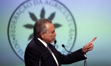 O presidente da República Michel Temer participa da apresentação do Plano de Modernização e Desburocratização da Agricultura Foto: Edilson Dantas/ Agência O Globo