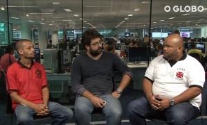 Representantes da Raça Rubro-Negra e da Força Jovem do Vasco debatem a violência no futebol com o editor de Esportes do GLOBO, Márvio dos Anjos Foto: Reprodução