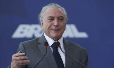 Presidente Michel Temer em cerimônia na semana passada. Foto: Aílton de Freitas/Agência O Globo