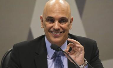 Alexandre de Moraes durante sua exposição na CCJ do Senado, onde é sabatinado por parlamentares Foto: Ailton Freitas / O Globo