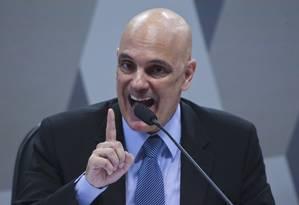 Alexandre de Moraes surante sabatina na Comissão de Constituição, Justiça e Cidadania (CCJ) Foto: Ailton Freitas / Agência O Globo