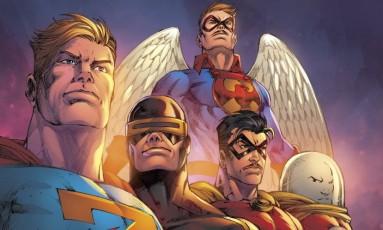 Super-heróis. Contracapa da revista que está sendo produzida pelo grupo Foto: Divulgação