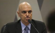 O ministro licenciado da Justiça, Alexandre de Moraes, durante sabatina no Senado Foto: Ailton Freitas / Agência O Globo