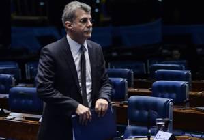 O senador Romero Jucá (PMDB-RR), no plenário do Senado Foto: Jefferson Rudy / Agência O Globo/20-02-2017