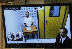Audiencia por videoconferencia do ex-governador Sergio Cabral no Tribunal de Justivçaa do Rio de Janeiro Foto: Alexandre Cassiano / Agência O Globo