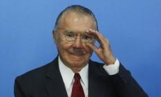 O ex-senador José Sarney, durante cerimônia de posse do ministro da Cultura, Marcelo Calero, no Palácio do Planalto Foto: Givaldo Barbosa / Agência O Globo/24-05-2016