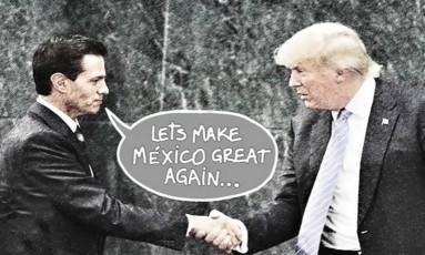 Captura de tela do clipe 'Quero ser presidente', de Sergio Arau, mostra encontro de Peña Nieto e Trump Foto: Reprodução