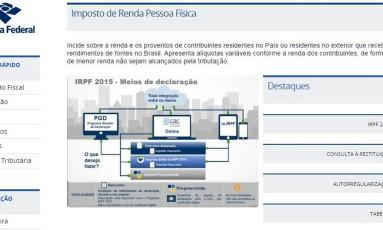 Site do IR, disponibilizado pela Receita Federal Foto: REPRODUÇÃO/INTERNET