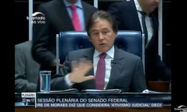 Sessão no plenário do Senado para votar a indicação de Alexandre de Moraes ao STF Foto: Reprodução