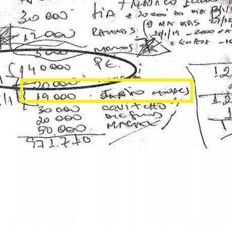 Referência ao nome do deputado Jânio Mendes nas anotações encontradas na casa de Luiz Carlos Bezerra Foto: Reprodução