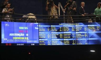 Sessão que votou indicação do ministro licenciado da Justiça, Alexandre Moraes, para a vaga do STF Foto: Ailton Freitas / O Globo