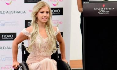 Justine Clark é a primeira cadeirante a participar do Miss Mundo Austrália Foto: DIVULGAÇÃO