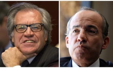 Montagem coloca lado a lado Luis Almagro, chefe da OEA, e ex-presidente mexicano Felipe Calderón Foto: Associated Press/Agência O Globo
