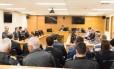 Representantes dos clubes do Rio, da federação de futebol e da PM na audiência pública sobre torcida única nos estádios no Tribunal de Justiça do Rio Foto: Brunno Dantas / TJRJ