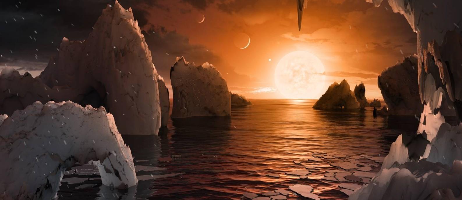 Ilustração mostra como seria a visão do sistema da superfície de um dos seus planetas centrais: possibilidade de ter água em estado líquido, condição para existência de vida como conhecemos