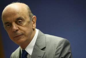 O senador José Serra: pedido de exoneração do Ministério das Relações Exteriores Foto: André Coelho / Agência O Globo / 9-11-2016