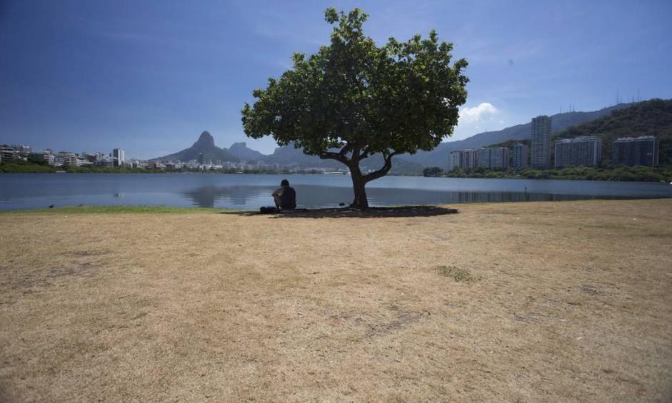 Muitos dias sem chuva deixa secos os gramados do Parque do Cantagalo, na Lagoa. Foto: Márcia Foletto / Agência O Globo