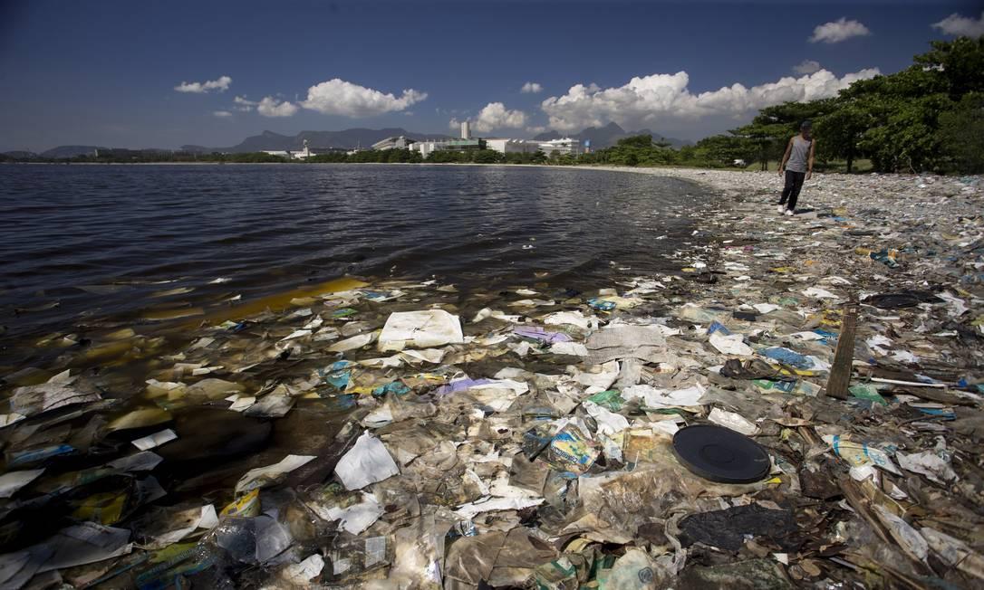 A praia localizada atrás da Escola de Educação Fisica da UFRJ, no Fundão, está tomada pelo lixo Foto: Márcia Foletto / Agência O Globo