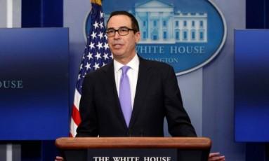Secretário do Tesouro americano, Steven Mnuchin Foto: Kevin Lamarque / Reuters