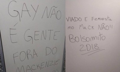 Pichações preconceituosas no banheiro da Machenzie, em São Paulo Foto: Reprodução Facebook