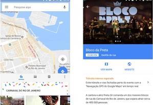 O aplicativo mostra as datas e as rotas por onde os principais blocos passam Foto: Divulgação
