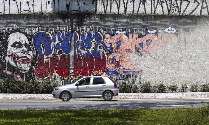 Grafite na Avenida 23 de Maio, região central de São Paulo, foi apagado em janeiro pela gestão João Doria Foto: Edilson Dantas / Agência O Globo
