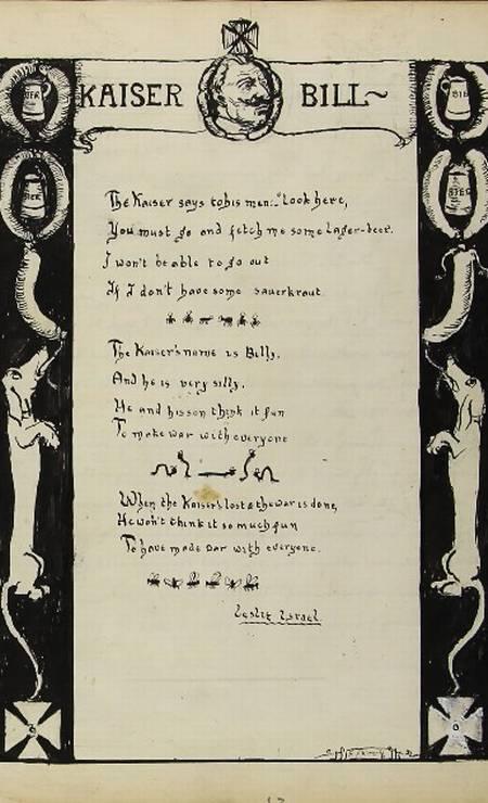 Israel Leslie dedica a Guilherme II o poema 'Kaiser Bill': 'você tem que tomar um comprimido' Foto: Reprodução