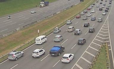 Congestionamento no sentido litoral da Rodovia dos Imigrantes Foto: Repdroução/Ecovias