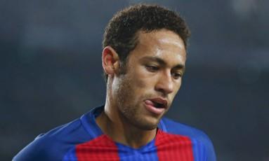 Neymar, atacante do Barcelona, em ação na partida contra o Leganés pelo Campeonato Espanhol: craque tem menor média de gols em quatro temporadas Foto: ALBERT GEA / REUTERS