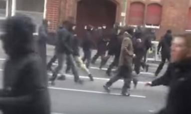 Briga de torcidas em Berlim Foto: Reprodução