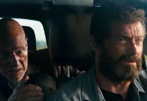 Patrick Stewart (professor Xavier) e Hugh Jackman (Wolverine) em 'Logan' Foto: Divulgação