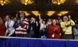 Participantes saúdam Trump na convenção conservadora realizada em Maryland Foto: NICHOLAS KAMM / Nicholas Kamm/AFP