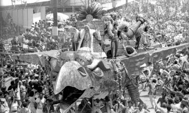 A Mocidade de 1983, de Fernando Pinto: tema folclórico-ambientalista reaparece em enredos deste ano Foto: Eurico Dantas/13-02-1983