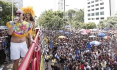 Bloco Comigo ela não vai vai agitou o centro de São Paulo no domingo Foto: Marcos Alves / Agência O Globo