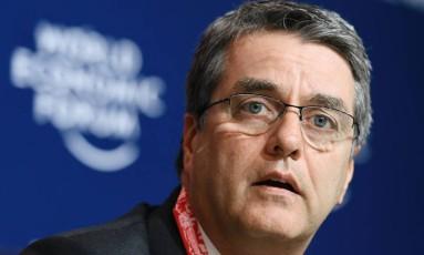 Roberto Azevêdo no Fórum Econômico de Davos, na Suíça, em janeiro. Foto: AFP/Fabrice Coffrini