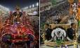 Carros alegóricos com problemas na Tuiuti (à esquerda) e na Tijuca Foto: Montagem - Editoria de Arte
