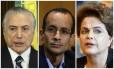 O presidente Michel Temer, o empresário Marcelo Odebrecht e a ex-presidente Dilma Rousseff