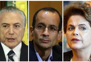 O presidente Michel Temer, o empresário Marcelo Odebrecht e a ex-presidente Dilma Rousseff Foto: Montagem sobre fotos