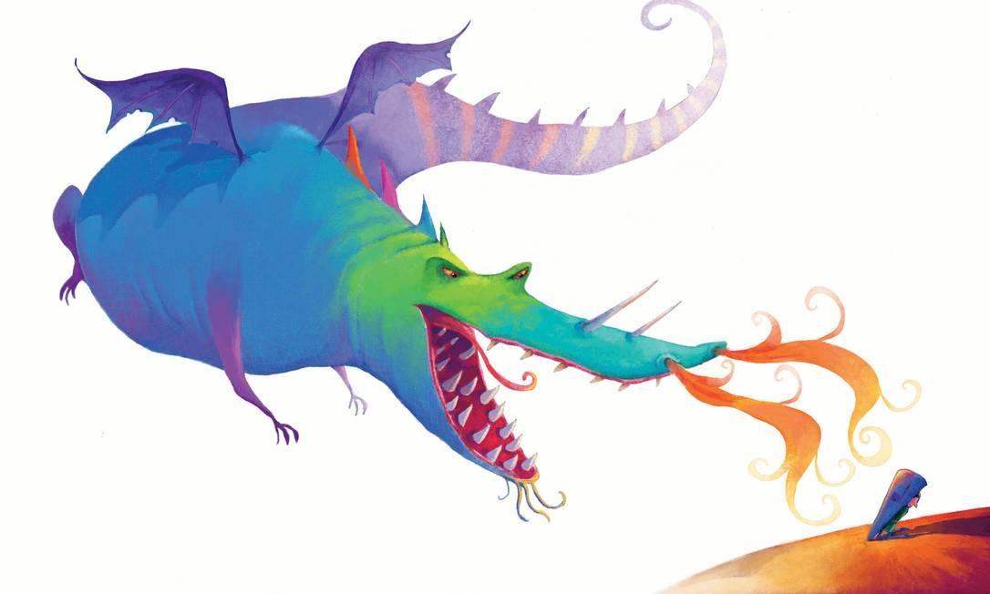"""BATALHA. Ilustração para seu livro """"A bruxinha e o dragão"""" (2012) Foto: Jean-Claude Alphen / Reprodução"""