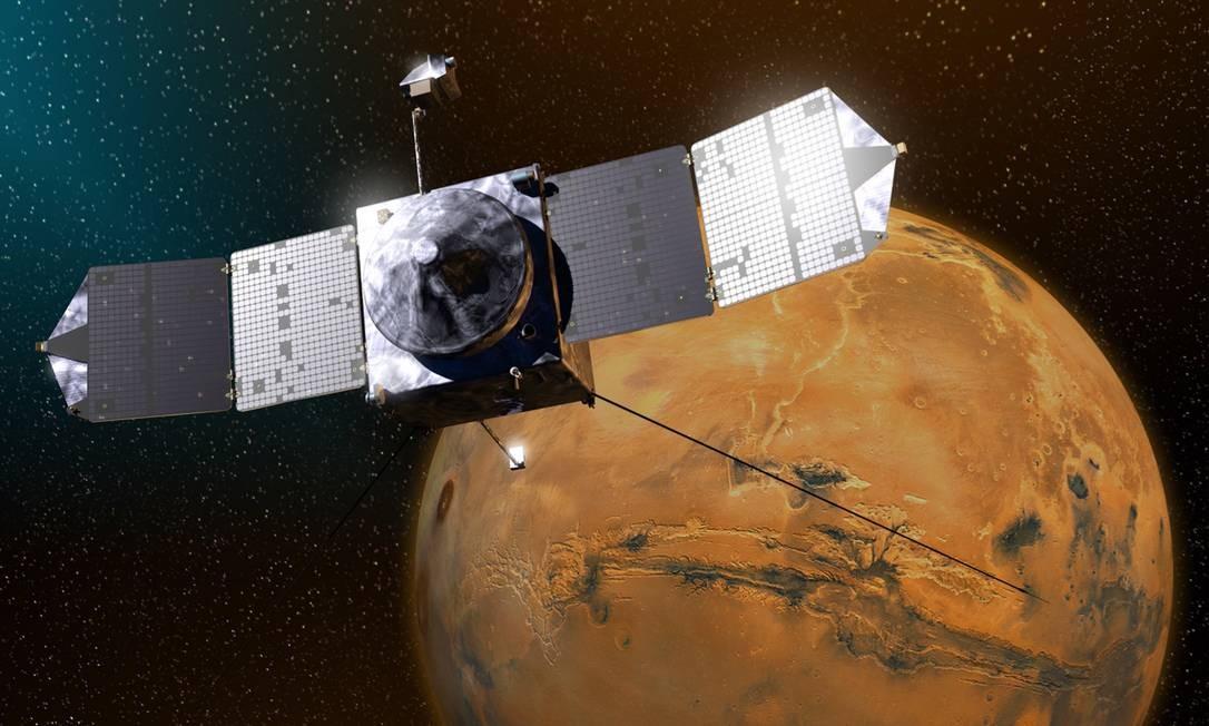 Ilustração mostra a Maven sobre Marte: órbita elíptica cruza com as de outras naves e de Phobos Foto: Nasa